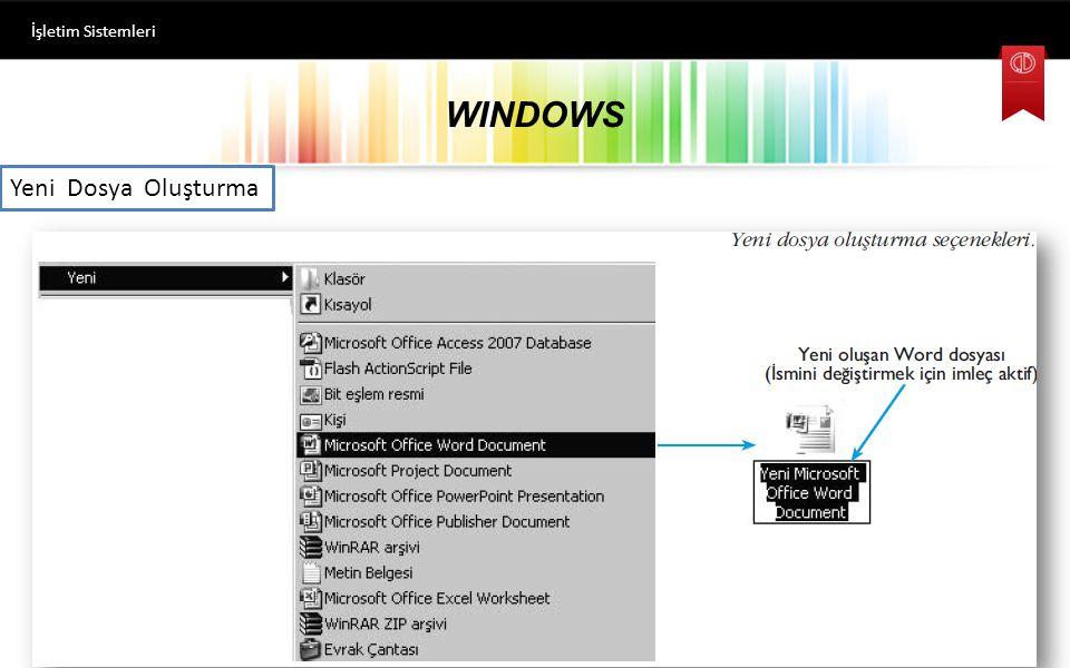 WINDOWS İşletim Sistemleri Klasör Oluşturma