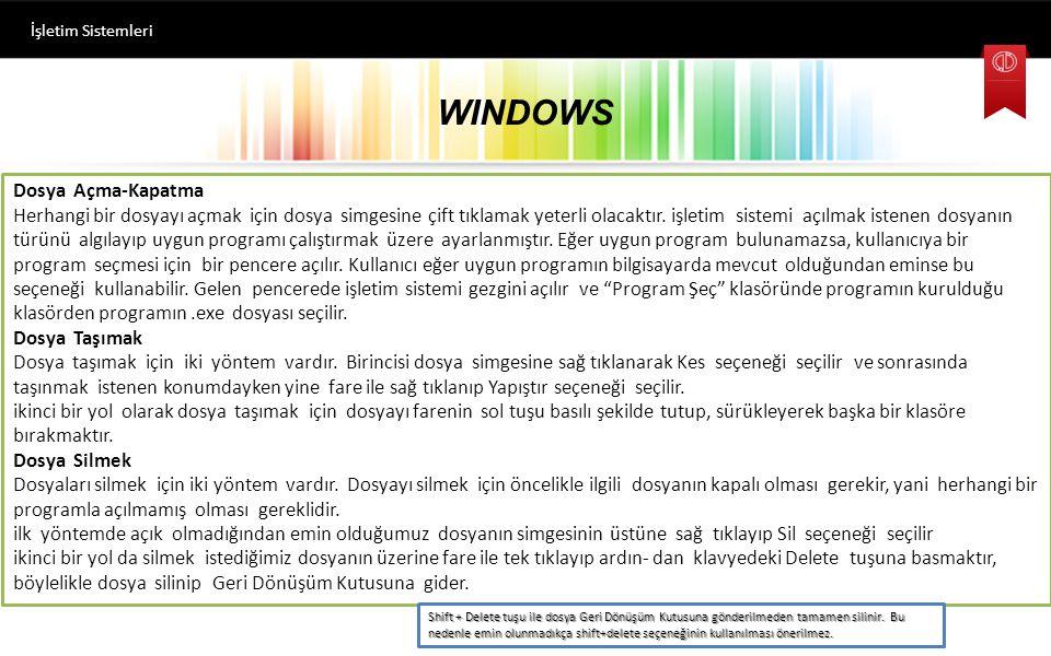 WINDOWS İşletim Sistemleri Yeni Dosya Oluşturma