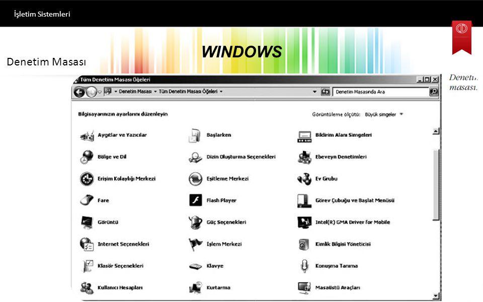 WINDOWS İşletim Sistemleri Başlat Menüsü