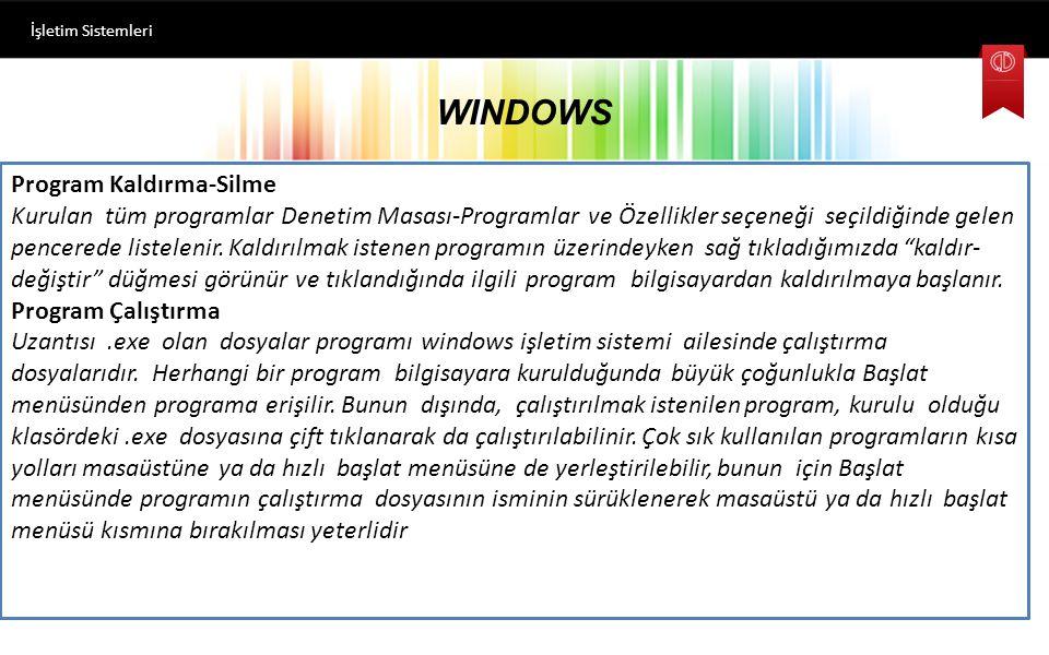 WINDOWS İşletim Sistemleri Denetim Masası