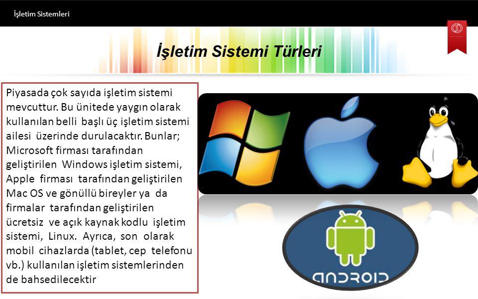 İşletim Sistemi Türleri Piyasada çok sayıda işletim sistemi mevcuttur.