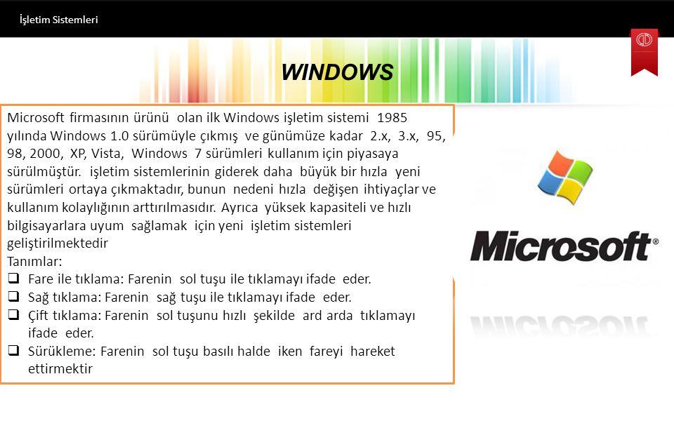 İşletim Sistemi Türleri Piyasada çok sayıda işletim sistemi mevcuttur. Bu ünitede yaygın olarak kullanılan belli başlı üç işletim sistemi ailesi üzeri