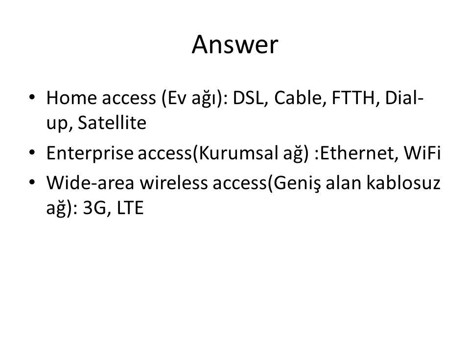Answer • Home access (Ev ağı): DSL, Cable, FTTH, Dial- up, Satellite • Enterprise access(Kurumsal ağ) :Ethernet, WiFi • Wide-area wireless access(Geni