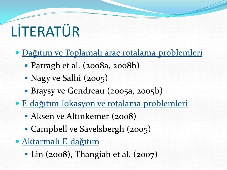 LİTERATÜR  Dağıtım ve Toplamalı araç rotalama problemleri  Parragh et al. (2008a, 2008b)  Nagy ve Salhi (2005)  Braysy ve Gendreau (2005a, 2005b)