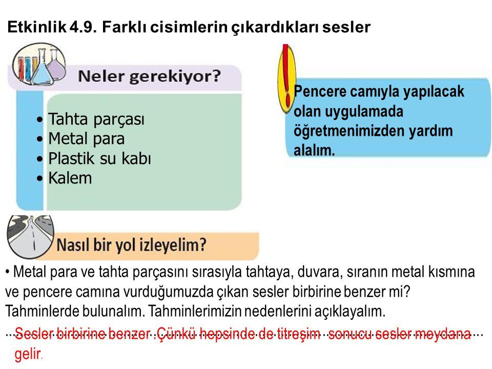 Etkinlik 4.9. Farklı cisimlerin çıkardıkları sesler • Tahta parçası • Metal para • Plastik su kabı • Kalem Pencere camıyla yapılacak olan uygulamada ö