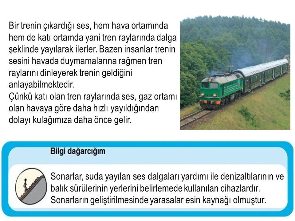 Bir trenin çıkardığı ses, hem hava ortamında hem de katı ortamda yani tren raylarında dalga şeklinde yayılarak ilerler. Bazen insanlar trenin sesini h