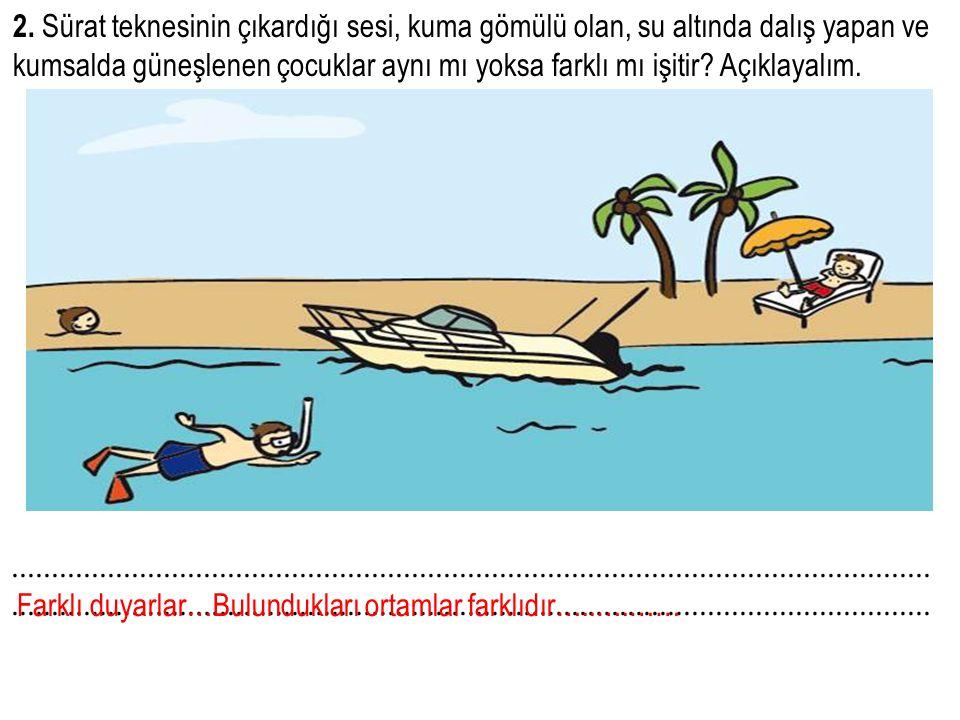 2. Sürat teknesinin çıkardığı sesi, kuma gömülü olan, su altında dalış yapan ve kumsalda güneşlenen çocuklar aynı mı yoksa farklı mı işitir? Açıklayal
