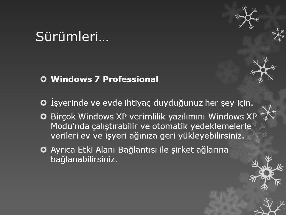 Sürümleri…  Windows 7 Professional  İşyerinde ve evde ihtiyaç duyduğunuz her şey için.  Birçok Windows XP verimlilik yazılımını Windows XP Modu'nda