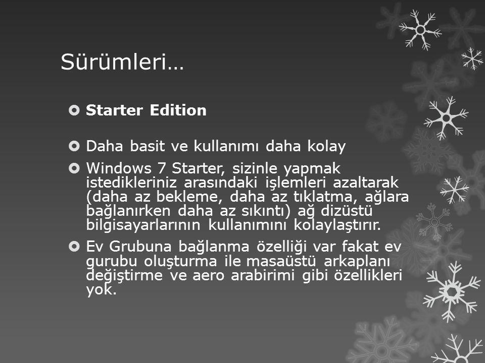 Sürümleri…  Starter Edition  Daha basit ve kullanımı daha kolay  Windows 7 Starter, sizinle yapmak istedikleriniz arasındaki işlemleri azaltarak (d