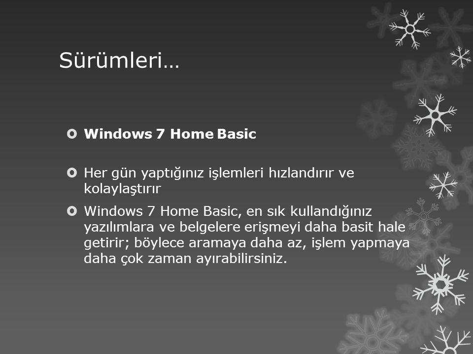 Sürümleri…  Windows 7 Home Premium  Windows 7 Home Premium bir ev ağı oluşturarak sevdiğiniz fotoğraflar, videolar ve müziğin tümünü paylaşmanızı kolaylaştırır.