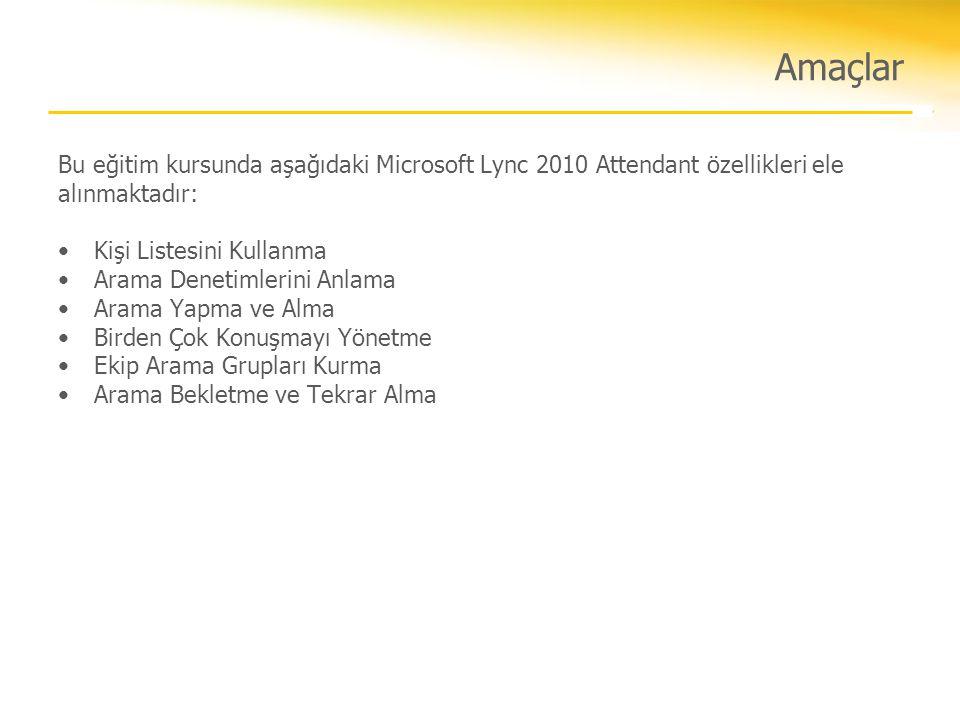 Amaçlar Bu eğitim kursunda aşağıdaki Microsoft Lync 2010 Attendant özellikleri ele alınmaktadır: •Kişi Listesini Kullanma •Arama Denetimlerini Anlama