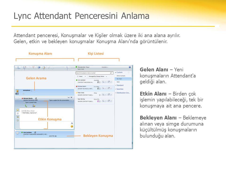Lync Attendant Penceresini Anlama Attendant penceresi, Konuşmalar ve Kişiler olmak üzere iki ana alana ayrılır. Gelen, etkin ve bekleyen konuşmalar Ko