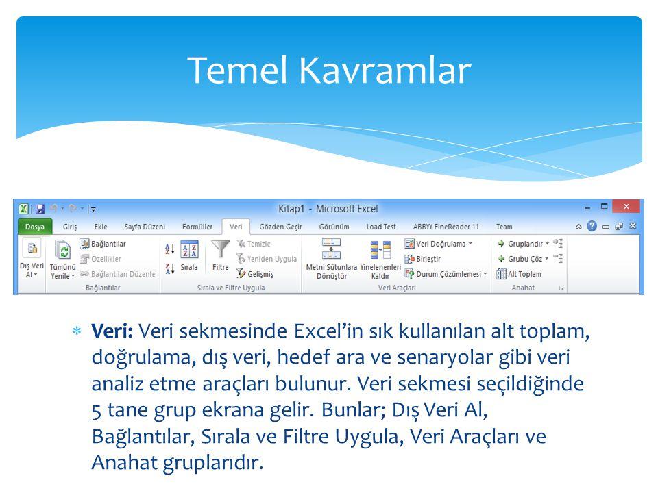  Veri: Veri sekmesinde Excel'in sık kullanılan alt toplam, doğrulama, dış veri, hedef ara ve senaryolar gibi veri analiz etme araçları bulunur. Veri