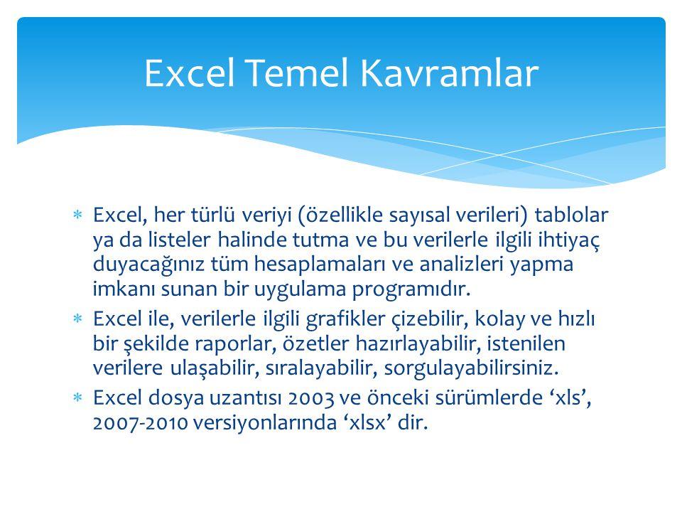  Excel, her türlü veriyi (özellikle sayısal verileri) tablolar ya da listeler halinde tutma ve bu verilerle ilgili ihtiyaç duyacağınız tüm hesaplamal
