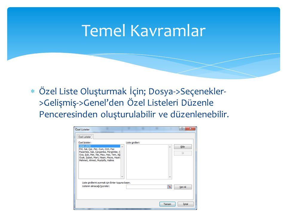  Özel Liste Oluşturmak İçin; Dosya->Seçenekler- >Gelişmiş->Genel'den Özel Listeleri Düzenle Penceresinden oluşturulabilir ve düzenlenebilir. Temel Ka