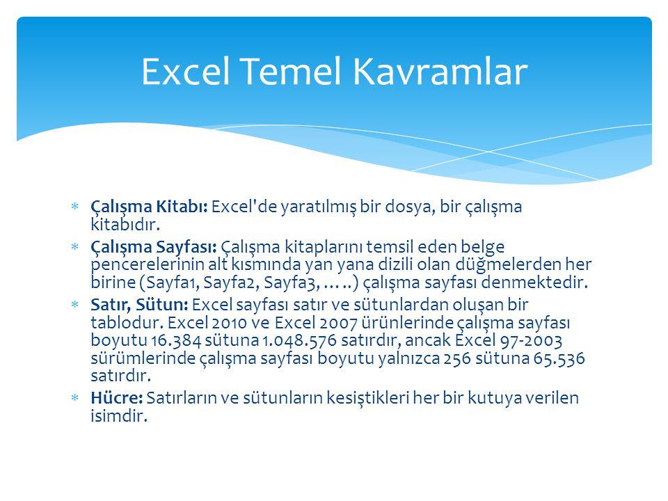 Çalışma Kitabı: Excel'de yaratılmış bir dosya, bir çalışma kitabıdır.  Çalışma Sayfası: Çalışma kitaplarını temsil eden belge pencerelerinin alt kı