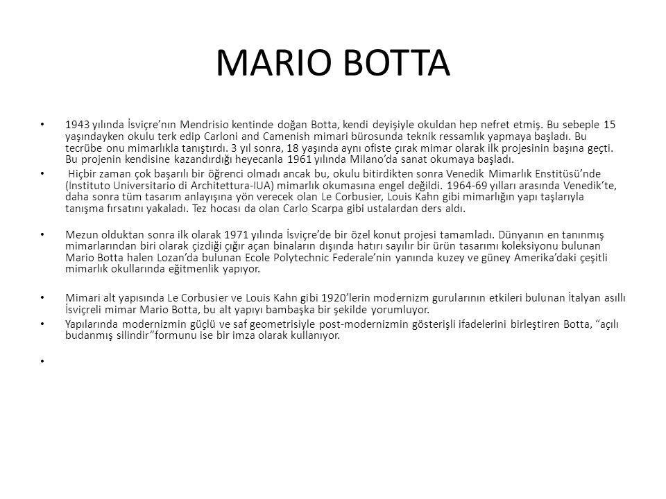 VİA CİANİ LUGANO'DAKİ OFİS BİNASI Botta nın kendisine yeni bir stüdyo tasarlama kararı ile ikamet için yapı programı aynı zamana rastlayınca,Lugano şehrinin gelişmekte olan bir bölümünde bir şehir villası projesi kendiliğinden belirdi.