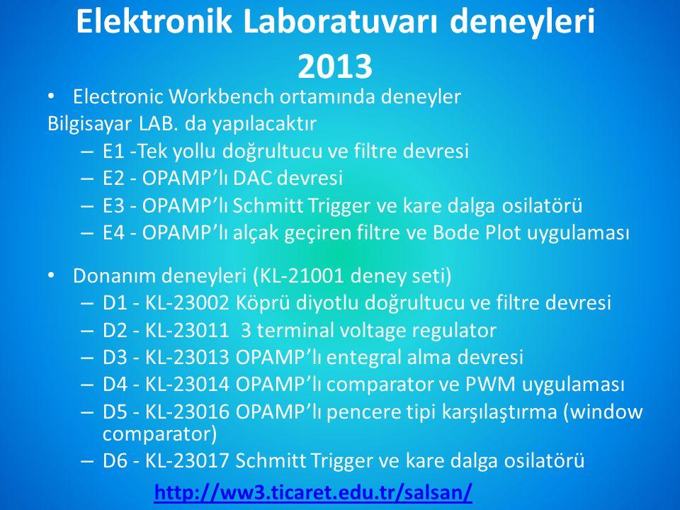 Elektronik Laboratuvarı deneyleri 2013 • Electronic Workbench ortamında deneyler Bilgisayar LAB. da yapılacaktır – E1 -Tek yollu doğrultucu ve filtre