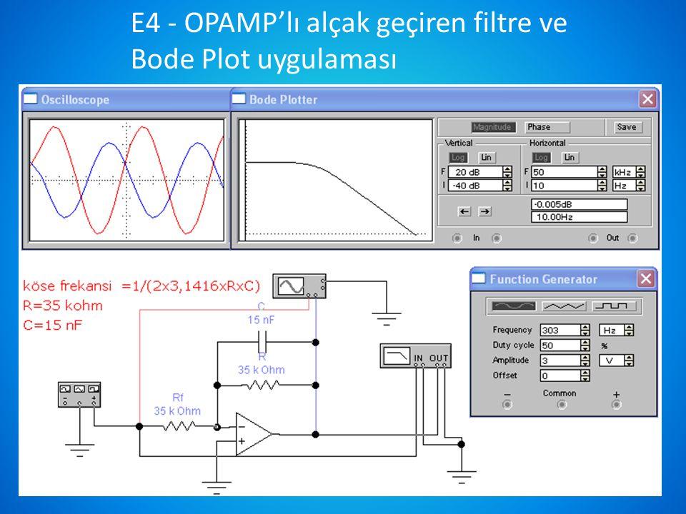 10 E4 - OPAMP'lı alçak geçiren filtre ve Bode Plot uygulaması