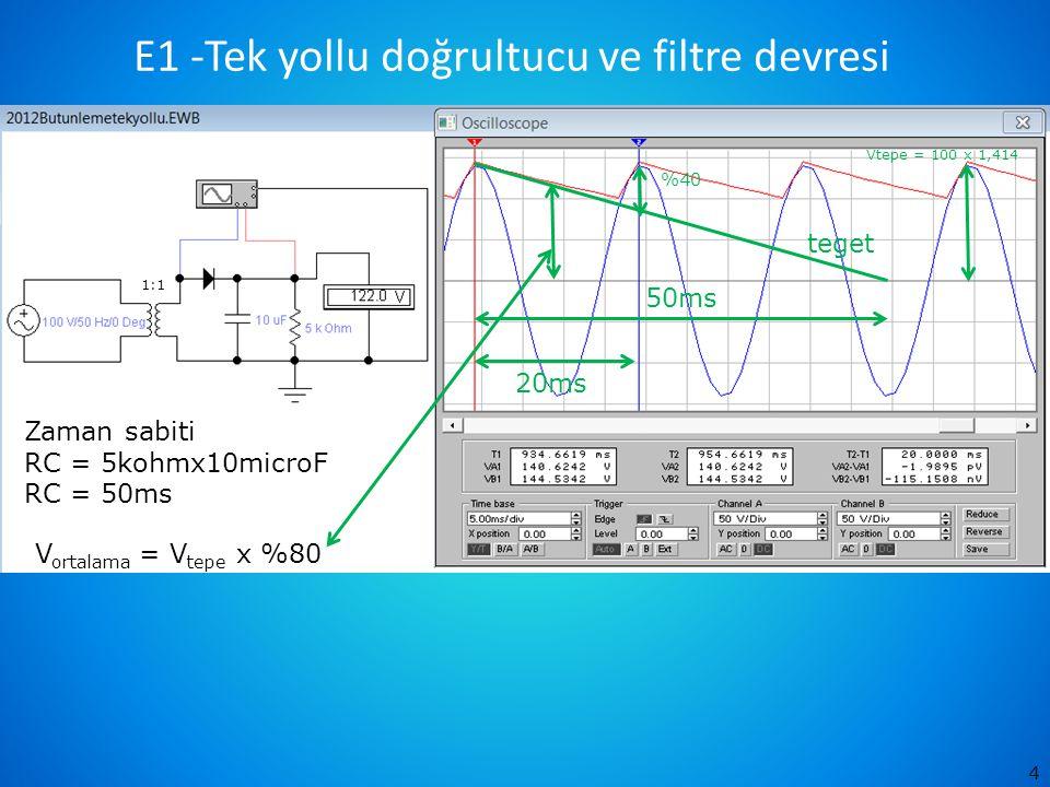 4 50ms teget 20ms Zaman sabiti RC = 5kohmx10microF RC = 50ms %40 V ortalama = V tepe x %80 1:1 Vtepe = 100 x 1,414 E1 -Tek yollu doğrultucu ve filtre