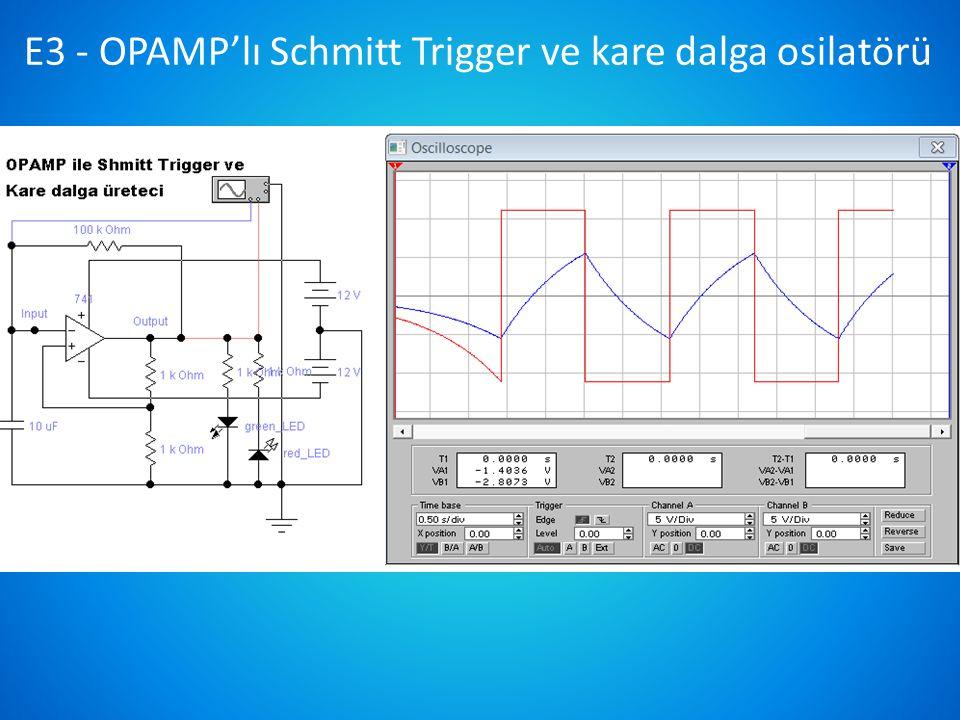D3 - KL-23013 OPAMP'lı entegral alma devresi Ölçmeler osiloskop ve analog elemanlarla yapılacaktır.