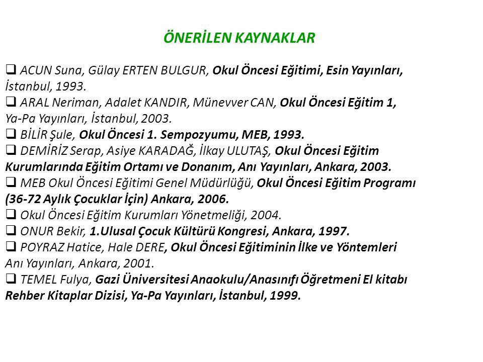 ÖNERİLEN KAYNAKLAR  ACUN Suna, Gülay ERTEN BULGUR, Okul Öncesi Eğitimi, Esin Yayınları, İstanbul, 1993.  ARAL Neriman, Adalet KANDIR, Münevver CAN,