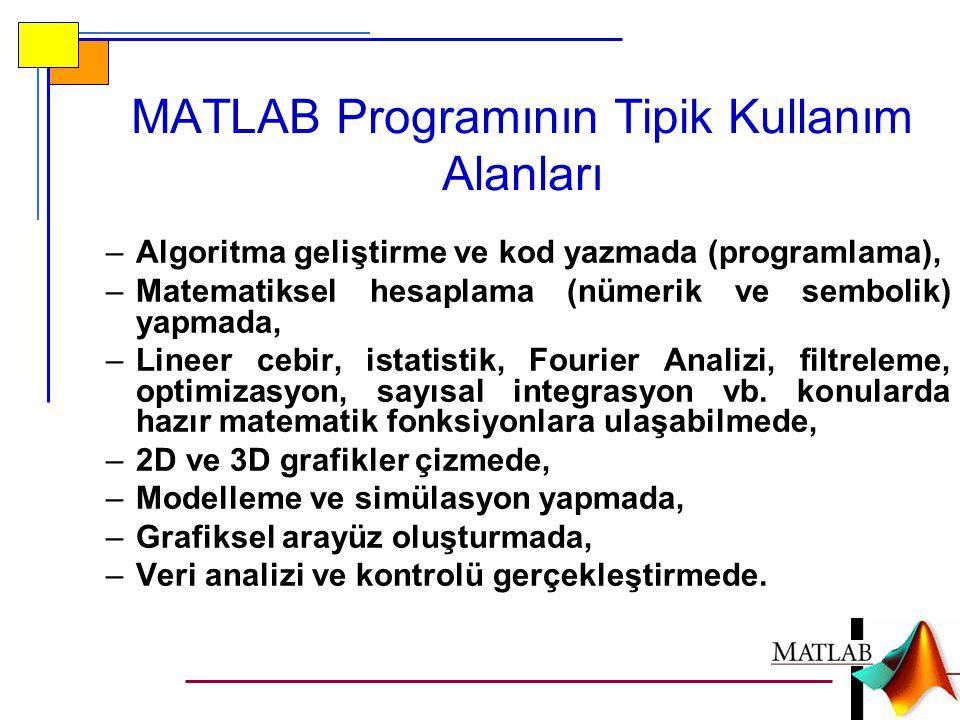 MATLAB Programının Tipik Kullanım Alanları –Algoritma geliştirme ve kod yazmada (programlama), –Matematiksel hesaplama (nümerik ve sembolik) yapmada, –Lineer cebir, istatistik, Fourier Analizi, filtreleme, optimizasyon, sayısal integrasyon vb.