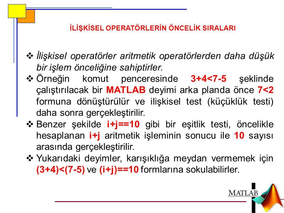 İLİŞKİSEL OPERATÖRLERİN ÖNCELİK SIRALARI  İlişkisel operatörler aritmetik operatörlerden daha düşük bir işlem önceliğine sahiptirler.  Örneğin komut