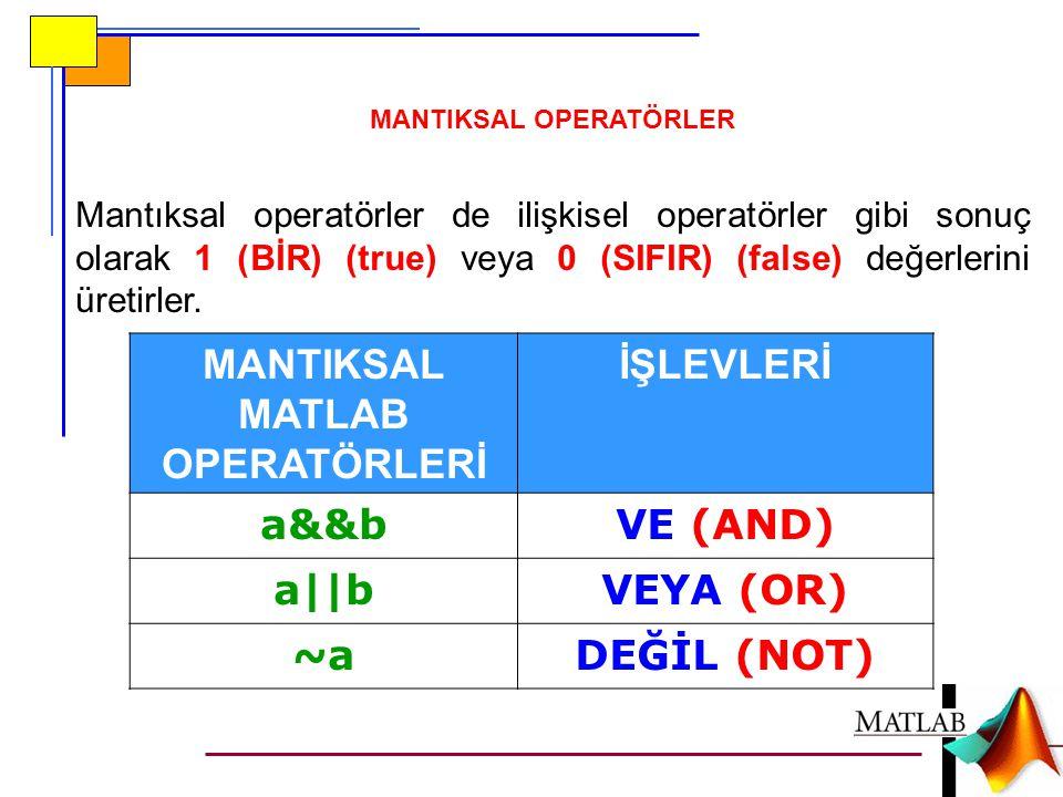 Mantıksal operatörler de ilişkisel operatörler gibi sonuç olarak 1 (BİR) (true) veya 0 (SIFIR) (false) değerlerini üretirler.