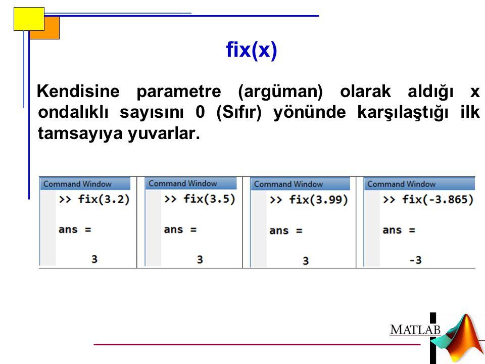 fix(x) Kendisine parametre (argüman) olarak aldığı x ondalıklı sayısını 0 (Sıfır) yönünde karşılaştığı ilk tamsayıya yuvarlar.