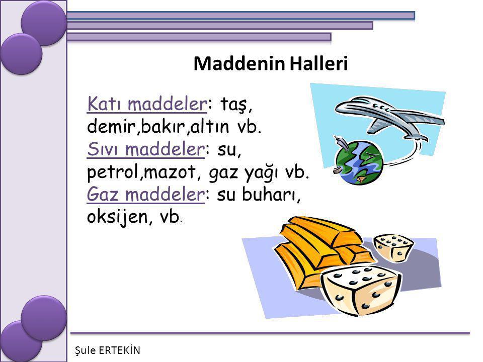 Şule ERTEKİN Maddenin Halleri Katı maddeler: taş, demir,bakır,altın vb. Sıvı maddeler: su, petrol,mazot, gaz yağı vb. Gaz maddeler: su buharı, oksijen