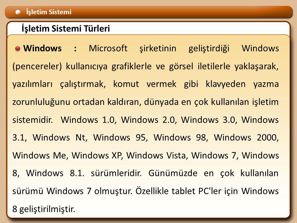 İşletim Sistemi İşletim Sistemi Türleri Windows : Microsoft şirketinin geliştirdiği Windows (pencereler) kullanıcıya grafiklerle ve görsel iletilerle yaklaşarak, yazılımları çalıştırmak, komut vermek gibi klavyeden yazma zorunluluğunu ortadan kaldıran, dünyada en çok kullanılan işletim sistemidir.