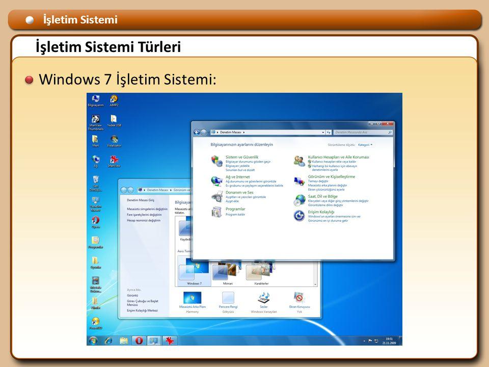 İşletim Sistemi İşletim Sistemi Türleri Windows 7 İşletim Sistemi: