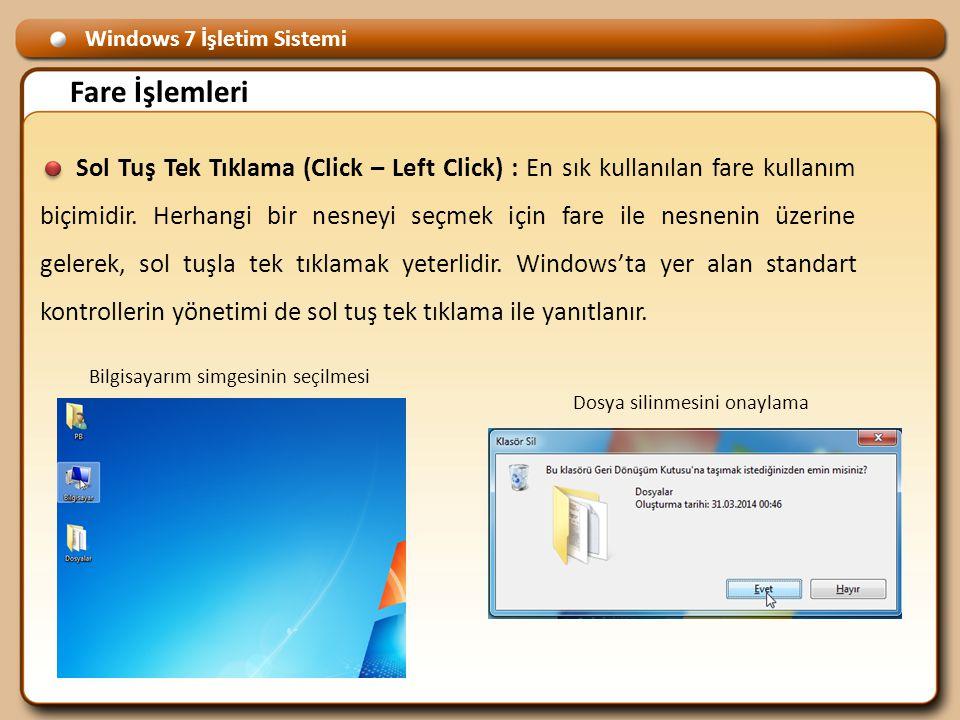 Windows 7 İşletim Sistemi Fare İşlemleri Sol Tuş Tek Tıklama (Click – Left Click) : En sık kullanılan fare kullanım biçimidir.
