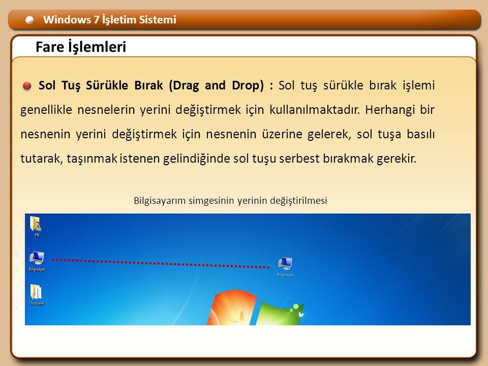 Windows 7 İşletim Sistemi Fare İşlemleri Sol Tuş Sürükle Bırak (Drag and Drop) : Sol tuş sürükle bırak işlemi genellikle nesnelerin yerini değiştirmek için kullanılmaktadır.