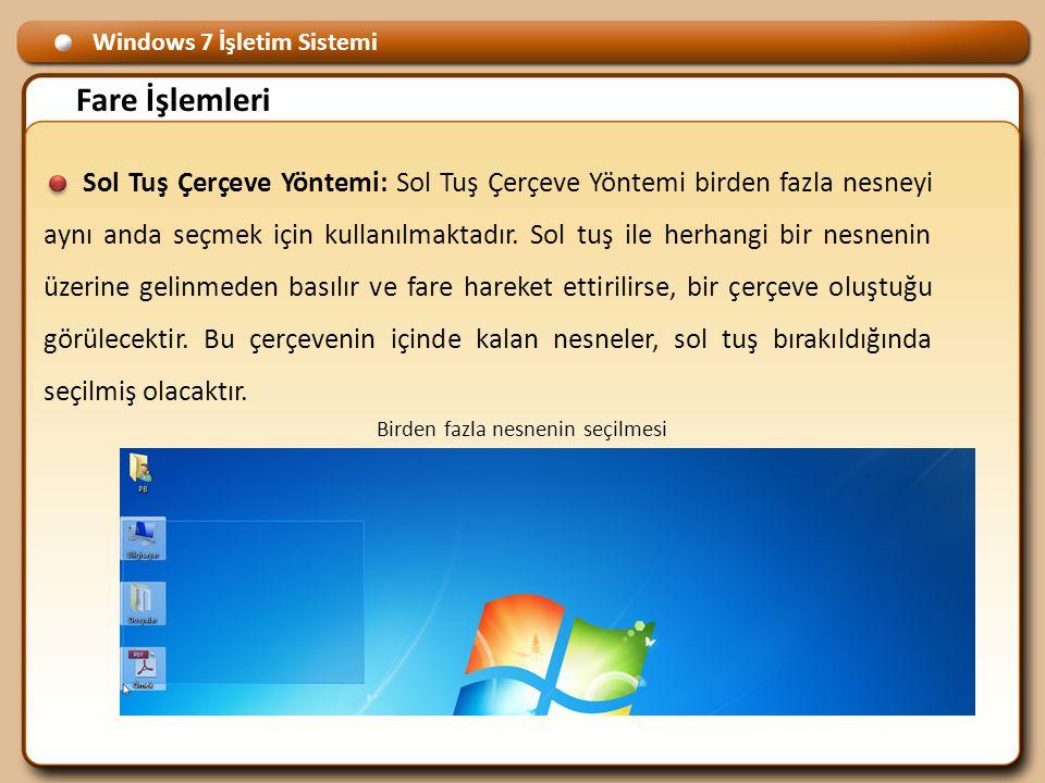 Windows 7 İşletim Sistemi Fare İşlemleri Sol Tuş Çerçeve Yöntemi: Sol Tuş Çerçeve Yöntemi birden fazla nesneyi aynı anda seçmek için kullanılmaktadır.