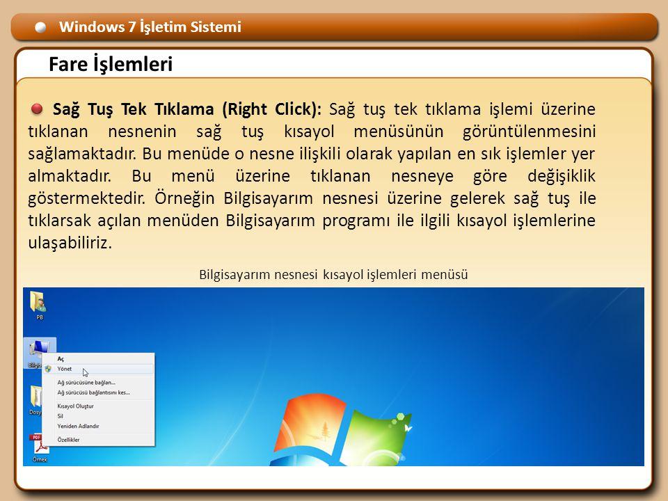 Windows 7 İşletim Sistemi Fare İşlemleri Sağ Tuş Tek Tıklama (Right Click): Sağ tuş tek tıklama işlemi üzerine tıklanan nesnenin sağ tuş kısayol menüsünün görüntülenmesini sağlamaktadır.