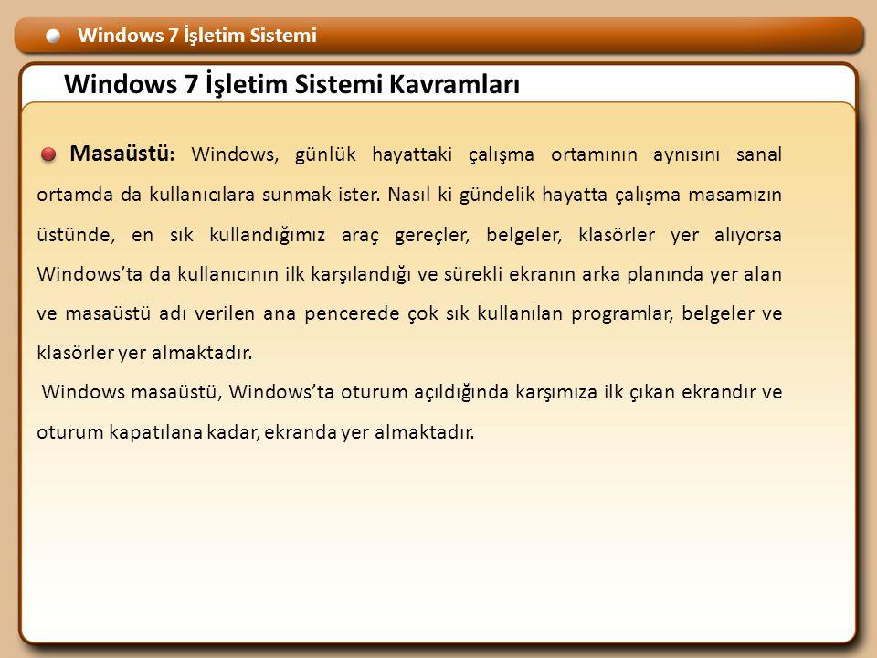 Windows 7 İşletim Sistemi Windows 7 İşletim Sistemi Kavramları Masaüstü : Windows, günlük hayattaki çalışma ortamının aynısını sanal ortamda da kullanıcılara sunmak ister.