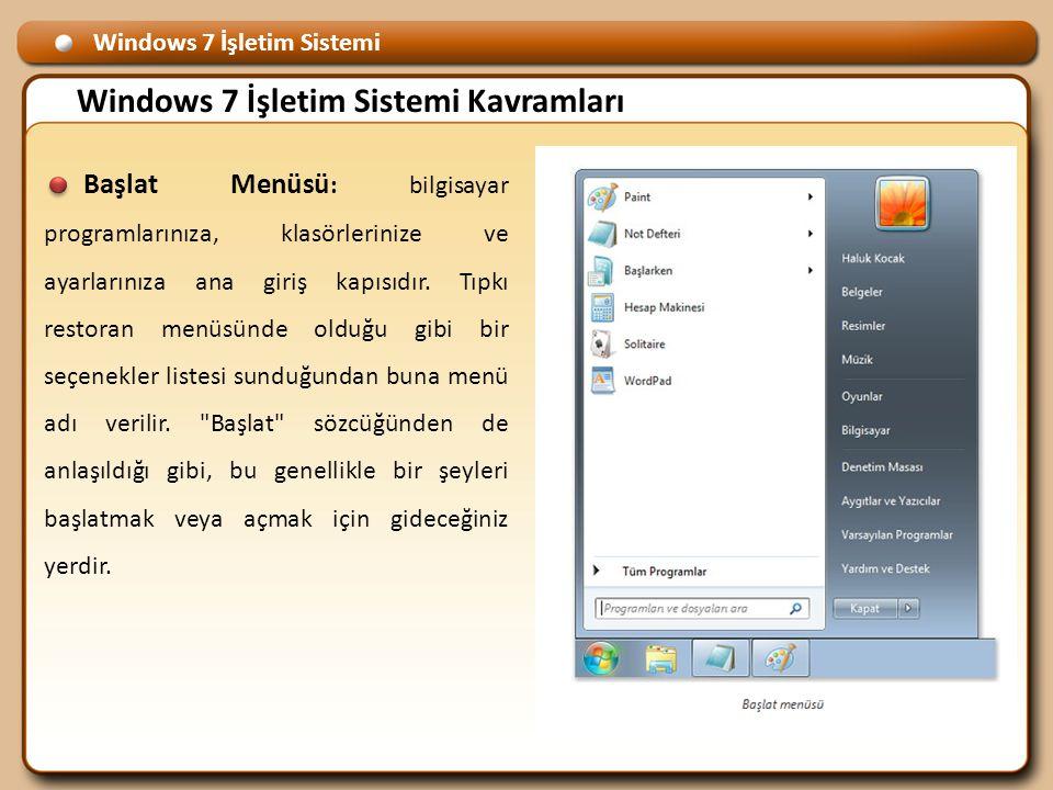 Windows 7 İşletim Sistemi Windows 7 İşletim Sistemi Kavramları Başlat Menüsü : bilgisayar programlarınıza, klasörlerinize ve ayarlarınıza ana giriş kapısıdır.