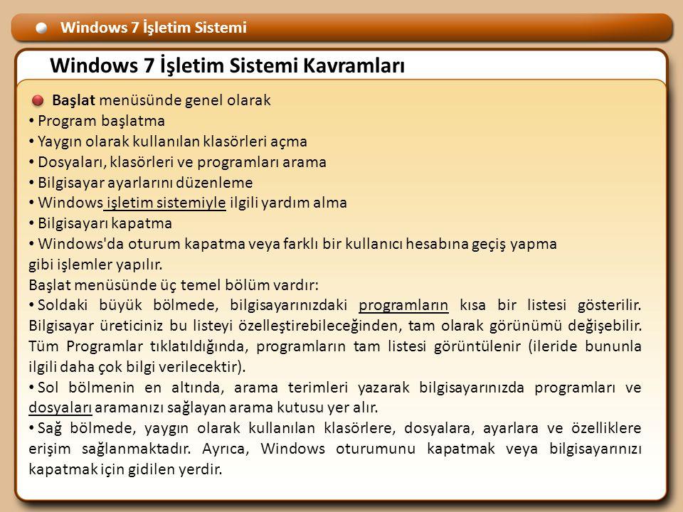 Windows 7 İşletim Sistemi Windows 7 İşletim Sistemi Kavramları Başlat menüsünde genel olarak • Program başlatma • Yaygın olarak kullanılan klasörleri açma • Dosyaları, klasörleri ve programları arama • Bilgisayar ayarlarını düzenleme • Windows işletim sistemiyle ilgili yardım alma • Bilgisayarı kapatma • Windows da oturum kapatma veya farklı bir kullanıcı hesabına geçiş yapma gibi işlemler yapılır.