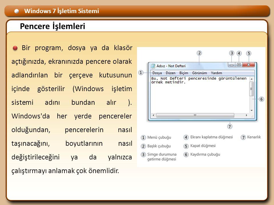Windows 7 İşletim Sistemi Pencere İşlemleri Bir program, dosya ya da klasör açtığınızda, ekranınızda pencere olarak adlandırılan bir çerçeve kutusunun içinde gösterilir (Windows işletim sistemi adını bundan alır ).