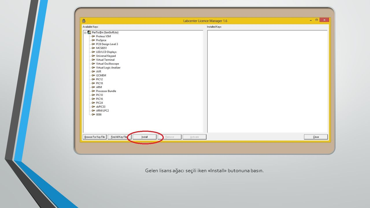 Gelen lisans ağacı seçili iken «Install» butonuna basın.