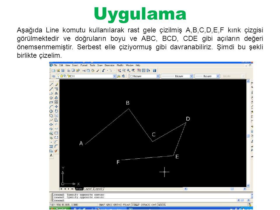 Uygulama Aşağıda Line komutu kullanılarak rast gele çizilmiş A,B,C,D,E,F kırık çizgisi görülmektedir ve doğruların boyu ve ABC, BCD, CDE gibi açıların