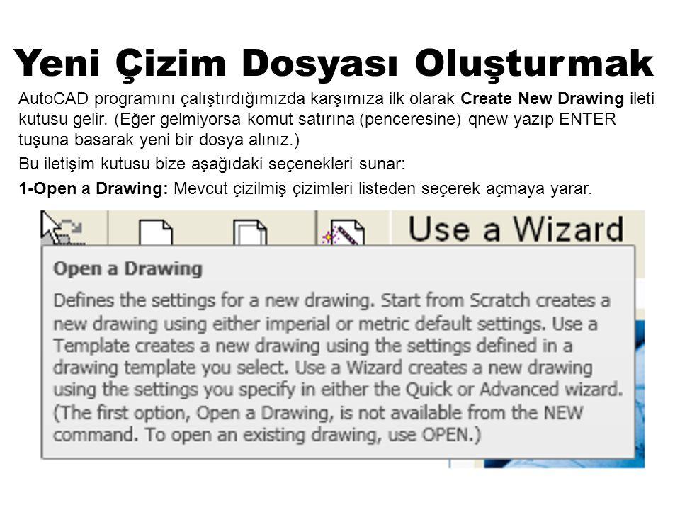 Yeni Çizim Dosyası Oluşturmak AutoCAD programını çalıştırdığımızda karşımıza ilk olarak Create New Drawing ileti kutusu gelir. (Eğer gelmiyorsa komut