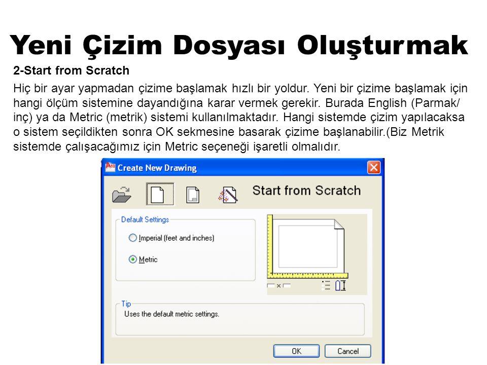 Yeni Çizim Dosyası Oluşturmak 2-Start from Scratch Hiç bir ayar yapmadan çizime başlamak hızlı bir yoldur. Yeni bir çizime başlamak için hangi ölçüm s