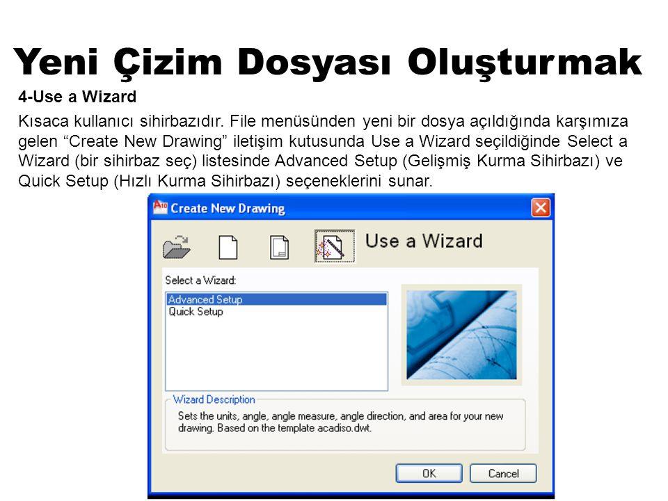 """Yeni Çizim Dosyası Oluşturmak 4-Use a Wizard Kısaca kullanıcı sihirbazıdır. File menüsünden yeni bir dosya açıldığında karşımıza gelen """"Create New Dra"""