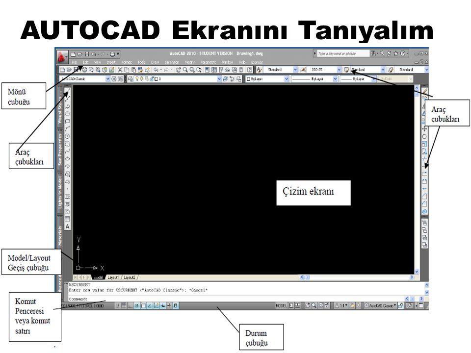 AUTOCAD Çizim Programında Komutları Uygulamak 1- Menü çubuğundaki menüleri kullanarak AutoCAD ekranında gördüğünüz menü çubuğunda genellikle bilgisayar programlarının çoğunda olduğu gibi, tıklandığında aşağıya doğru açılan menüler ve bunların altında bulunan komut ve komutların alt seçenekleri bulunmaktadır.