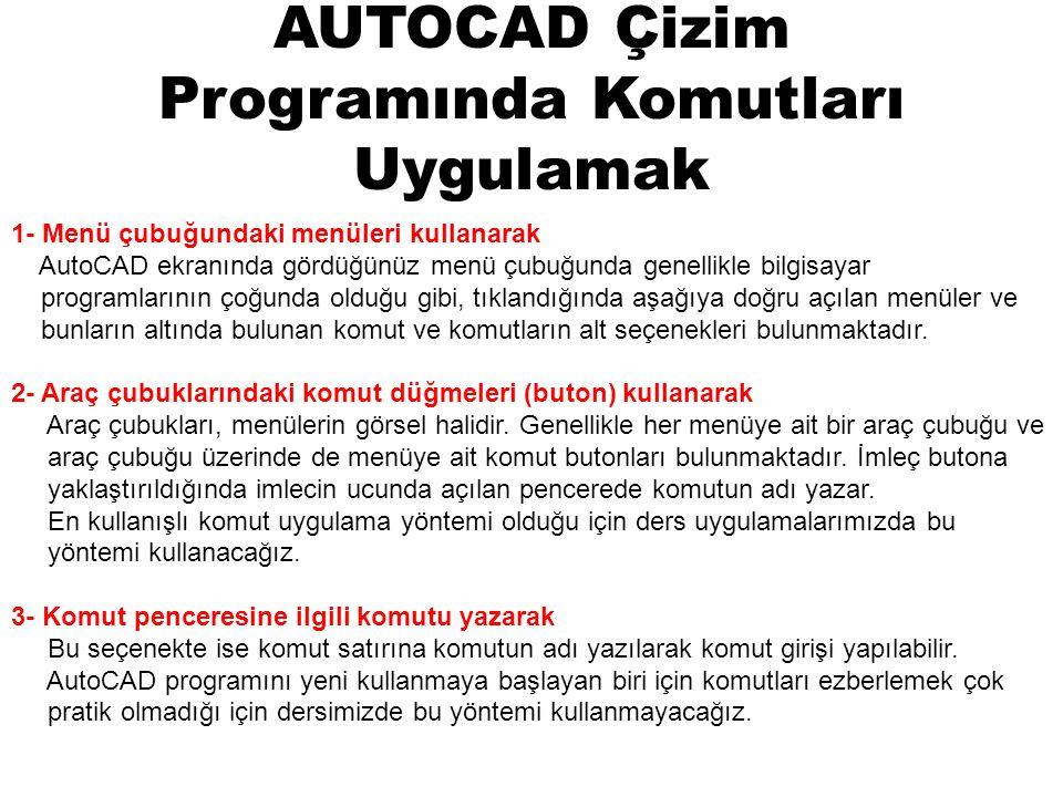 AUTOCAD Çizim Programında Komutları Uygulamak 1- Menü çubuğundaki menüleri kullanarak AutoCAD ekranında gördüğünüz menü çubuğunda genellikle bilgisaya