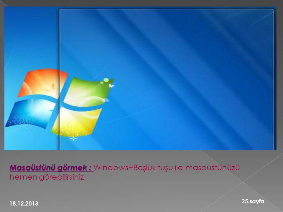 Masaüstünü görmek : Masaüstünü görmek : Windows+Boşluk tuşu ile masaüstünüzü hemen görebilirsiniz. 18.12.2013 25.sayfa