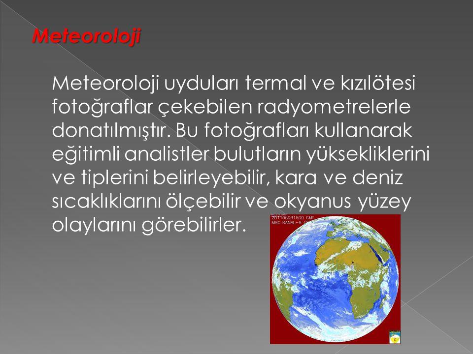 Meteoroloji Meteoroloji Meteoroloji uyduları termal ve kızılötesi fotoğraflar çekebilen radyometrelerle donatılmıştır.
